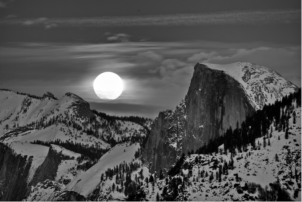The Mood rising between Clouds Rest and Half Dome in Yosemite National Park